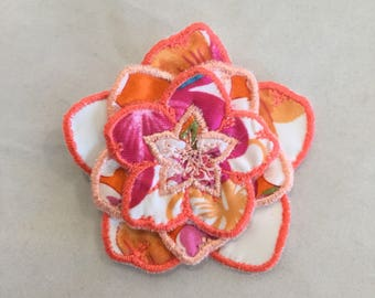 3D Layered Fabric Flower Clip (tropical tangerine)