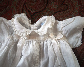 1940s Christening Gown White Cotton Lawn & Lace Petite Baby Wear Made in USA