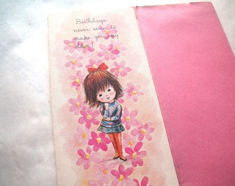 1970 Moppets Fran Mar Birthday Greeting Card AS IS Girl and Pink Flowers