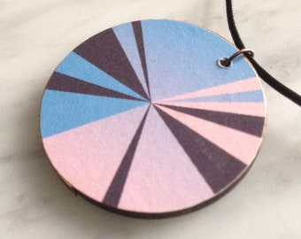 SALE 25% OFF - Circular wood pendant, geometric segmented pattern, powder pink and blue on chocolate, leather cord, style 29