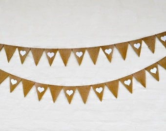 HEARTS by THE METRE Hessian Burlap Banner Nursery Baby Children Wedding Engagement Celebration Party Bunting Decoration Birthday Baby shower