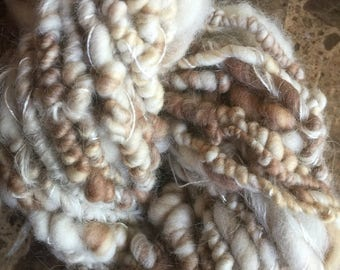 Handspun yarn bulky hand spun knitting crochet ecru white hair spinning wool