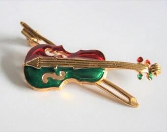 Vintage violin brooch.  Green and red enamel violin brooch