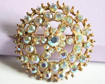Vintage crystal brooch.  Aurora borealis brooch. Large crystal brooch.  Rhinestone brooch