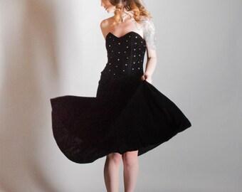 Vintage 1950's Style Strapless Velvet Party Dress