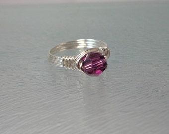 February Birthstone Ring | Crystal Ring | Swarovski Crystal Ring | Childs Ring | Pinkie Ring | Kids Ring