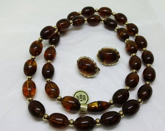 Avon  Turtle Bay Tortoise Beads and clip earrings  1980 Amber tones golds