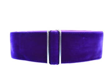 Purple Martingale Collar, 2 Inch Martingale Collar, Velvet Martingale Collar, Velvet Dog Collar, Greyhound Collar, Sighthound Collar