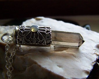 Smoky Quartz Filigree Silver Bullet Jewelry Pendant