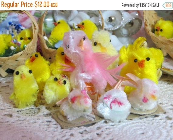 ON SALE Vintage Chenille Chicks and Bunnies-PASTELS-Bead Eyes-Wire Feet--Made in Japan-Novelties
