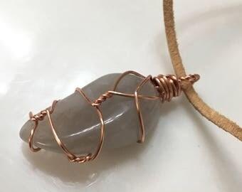 Smokey Quartz Pendant with Copper Wire Wrap