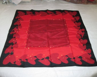 "Vintage Elaine Gold Silk Heart Valentine Design Scarf Red & Black 21"" by 21"" Square"
