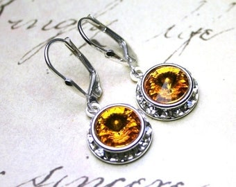 ON SALE Sunflower Crystal Halo Earrings - Swarovski Crystal and Sterling Silver Earrings in Yellow - Sterling Silver Leverbacks - Free US Sh