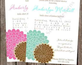 Love Blossoms Bridal Shower Invitation Style DI2163 DIGITAL FILE - Printable