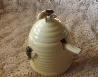 Porcelain Beehive  Honey Jar With Spoon
