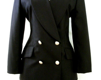 Vintage 90s Black Cashmere Suit by ESCADA Margaretha Ley - Black Cashmere Double Breasted Blazer and Skirt - Size 36 Small to Medium