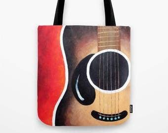 """Big Tote Bag, Smiling Guitar Red, 16""""x16"""" Art Print Tote"""