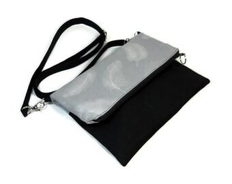 Foldover Crossbody Bag, Zipper Foldover Purse, Silver Feathers, Cross Body Bag, Adjustable Strap, Removable Strap, Zipper Clutch, Black Gray