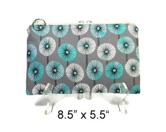 Zipper Pouch, Gray Teal Floral, Cosmetic Bag, Pencil Pouch, Accessory Bag, Gadget Case, E-Cig Case, Zip Bag, Padded Pouch, Purse Pouch