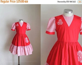 40% OFF anniversary sale vintage girl's party dress - CANDY 80s does 50s red dress / 10yr