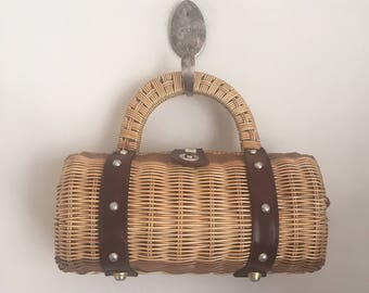 vintage basket purse - BARREL wicker & leather woven bag