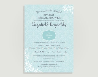Spa invitation - Spa Day Invitation - Spa Bridal Shower Invite - Personalized Printable File or Print Package Available 00233-PIA7FC