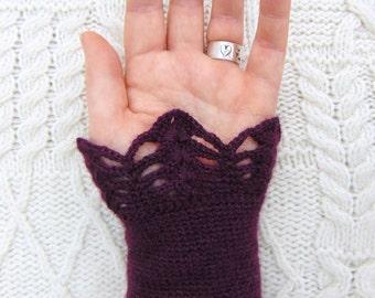 Purple Wool Wrist Warmers Hand Crocheted Wristlet Crochet Wrist Cuff  Handmade in Ireland