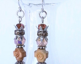 Small Earrings, Dainty Earrings, Pink Drop Earring, Small Bohemian Earrings, Carved Olive Wood, Pink Dangle Earring, Beaded Pink Jewelry