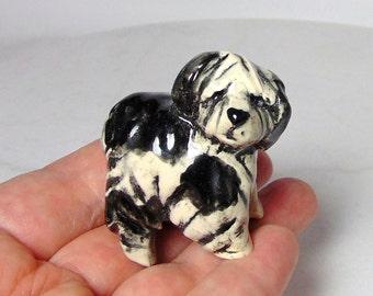Shaggy Sheep Dog Figurine - Bearded Collie Sheepdog - Ceramic Figurine - Dog Miniature - Terrarium Miniature - Pottery Animal