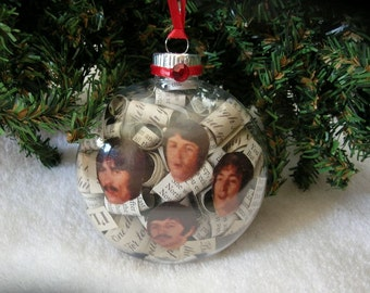 The Beatles Christmas Ornament - Album Liner Notes In Clear Bulb