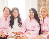 Monogrammed Robes Bridesmaids Getting Ready Robes Cotton Kimono Waffle Weave Robe Front Embroidery included