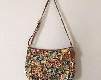 vintage tapestry and leather hobo bag
