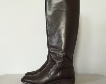 30% OFF SALE... dark chestnut riding boots | italian leather boots | 7.5
