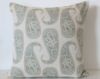 Paisley aqua blue green decorative pillow cover