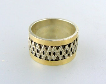 Vintage Sterling Silver Band w/ 14K Overlay