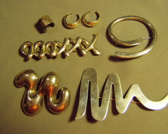 Vintage Sterling Silver Lot 4 Pins Brooches & Ear Cuffs XXXOOO Swirl Squiggles Mexico  8817