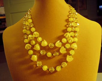 Vintage 1950s 3 Strand Yellow Bead Necklace Plastic Flower & Faceted Aurora Borealis Glass Beads 9172