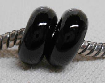 SRA Handmade Lampwork Bead Pair Charm Bracelet Beads Plain Black