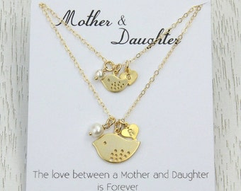 SALE New! Mother Daughter Necklace Set, Birthday Gift for Mother or Wife, Mother and Baby Bird Pendant, Personalized Initial Heart Charm