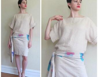 Vintage 1980s Beige Linen Drop Waist Dress / 80s Summer Dress with Hand Painted Floral Belt / Medium
