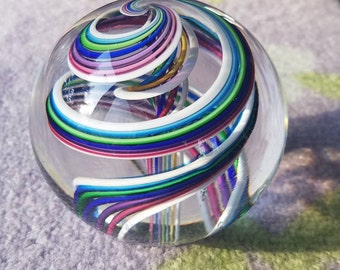Multicolored Hand Blown Glass Paperweight