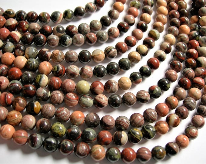 Red Silver leaf Jasper - 8 mm round beads -1 full strand - 49 beads - A quality - RFG1281
