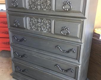 5 Drawer Dresser Chest  ~ ASCP Graphite/Coco  - San Diego Local Pickup