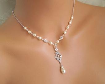 Swarovski crystals and ivory pearl necklace Backdrop Pearl Necklace rhinestone bridal necklace wedding necklace cubic zirconia necklace LUNA