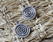 20 pcs Antique Silver Tone charming spiral pendant,spiral metal finding ,flower findings beads, findings Pendant Findings