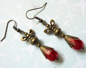 Red and Brass Teardrop Christmas Ornament Earrings (3255)