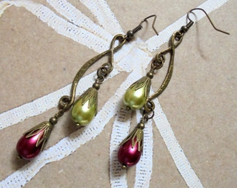 Ruby Red and Light Olive Green Christmas Drop Earrings (3260)