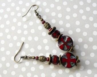 Maroon and Brass Ethnic Boho Earrings (3431)