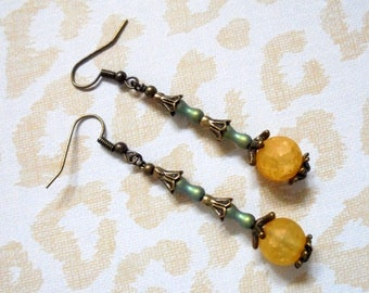 Yellow, Green and Brass Boho Earrings (3536)