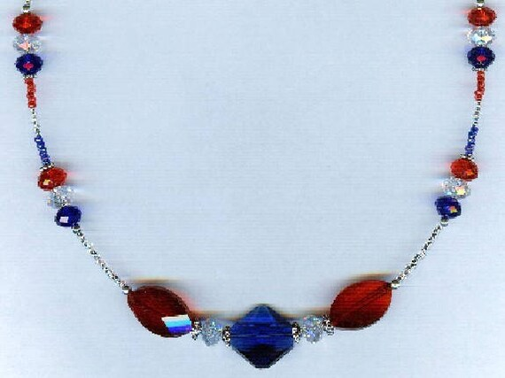 Patriotic Designer Faceted Glass in Red White Blue Bead Necklace